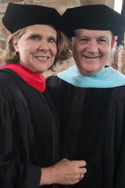 Ted and I love the regalia of a fancy graduation and put these robes on every chance we get!