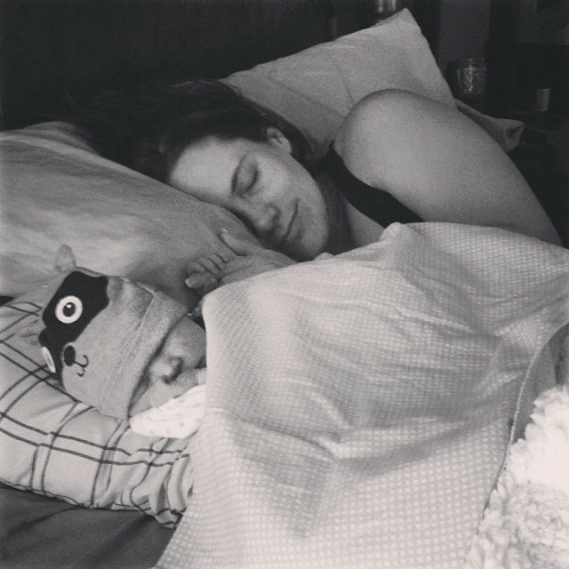 Rachelle sleeping with baby Tate